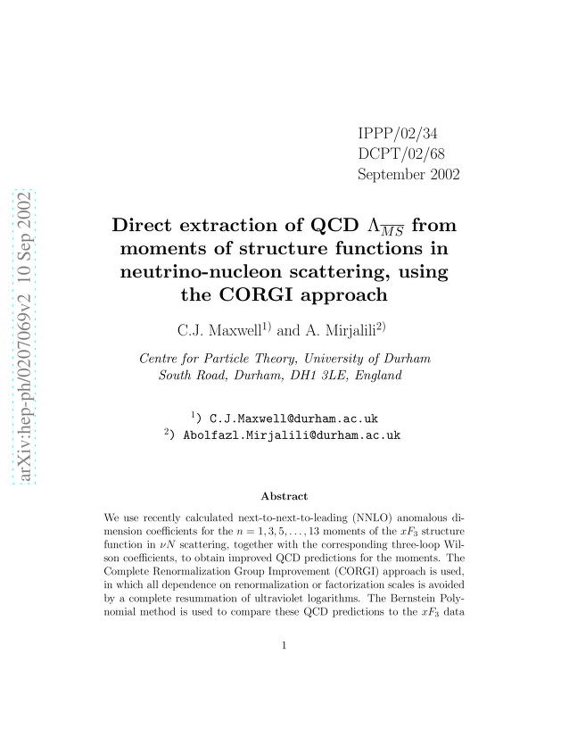 C. J. Maxwell - Direct extraction of QCD LambdaMSbar from moments of structure functions in neutrino-nucleon scattering, using the CORGI approach