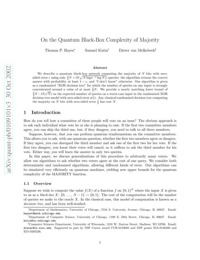 Thomas Hayes - On the Quantum Black-Box Complexity of Majority