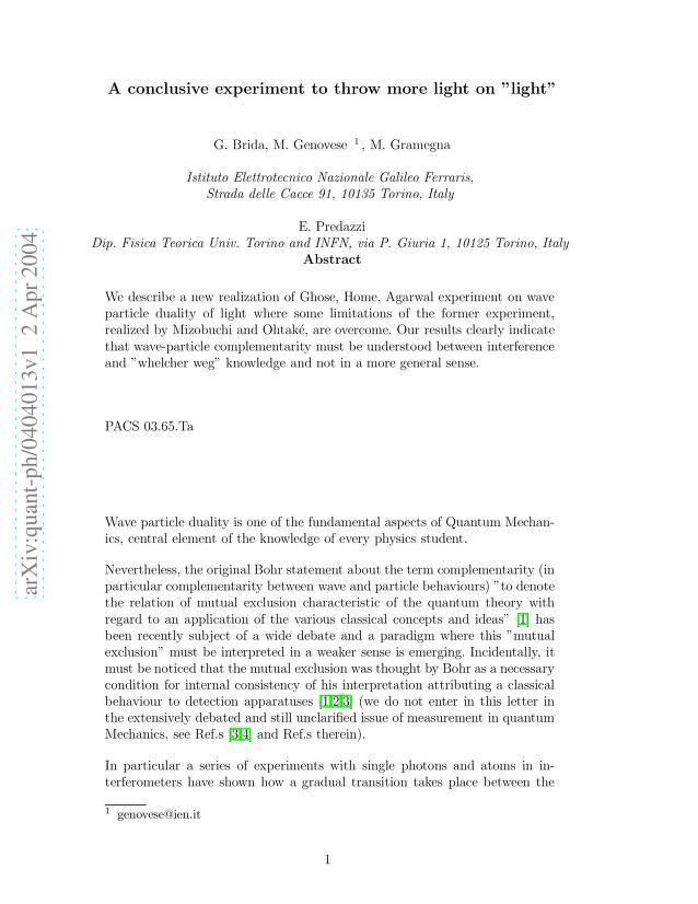 """G. Brida - A conclusive experiment to throw more light on """"light"""""""