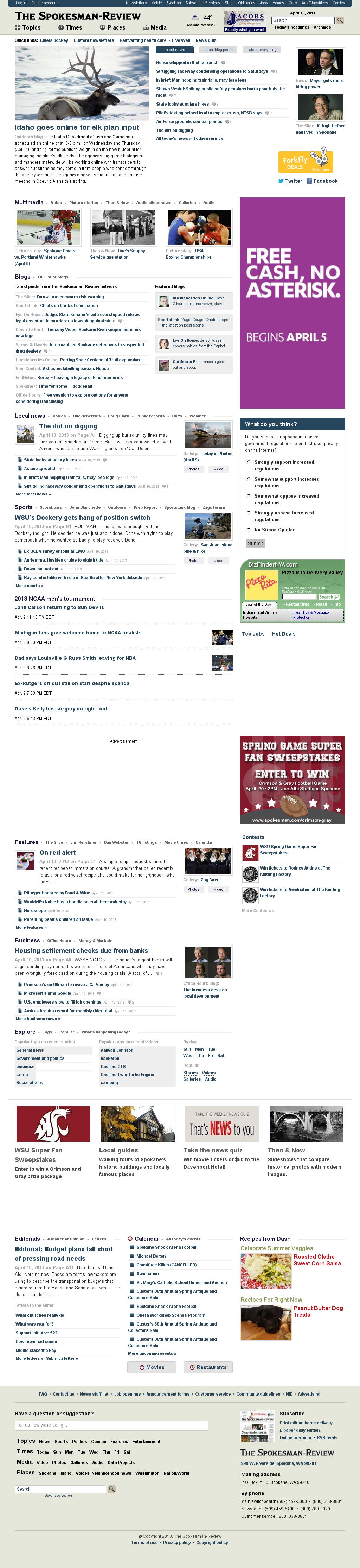 The (Spokane) Spokesman-Review at Wednesday April 10, 2013, 12:21 p.m. UTC